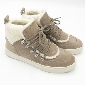 Marc Fisher Sana Suede And Faux Shearling Sneakers